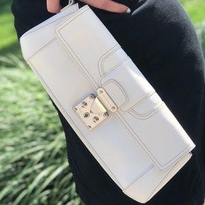 Large White Leather Antonio Melani Clutch Wristlet